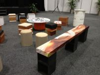 Reuse ottomans, tables and benches for the delegate area - Green Cities Expo 2013.