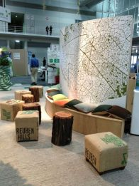 Themed styling, reuse hessian ottomans, crochet cushions for the Green City Living Conference 2013.