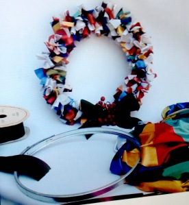 Colourful Xmas wreath made with cardboard barrel rim, ribbon and .... shredded City of Sydney banners!