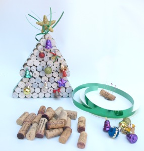 Beautiful Christmas tree made from old wine corks, ribbon and old tree decorations.s.